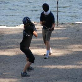 Kaja sparring with rapier, 2011