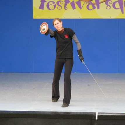 Kaja demonstrating sword and buckler, 2010