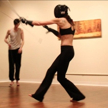Kaja sparring with rapier, 2012