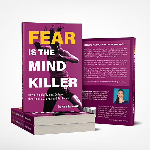 "Paperback mock-ups of ""Fear is the Mind Killer"", showing bothf ront and back covers."